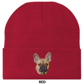 French Bulldog Knit Cap - Embroidered (Fawn)