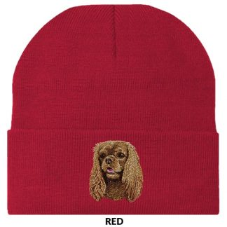 Ruby Cavalier Spaniel Knit Cap - Embroidered