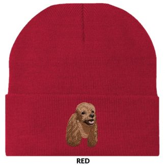 Brown Poodle Knit Cap - Embroidered