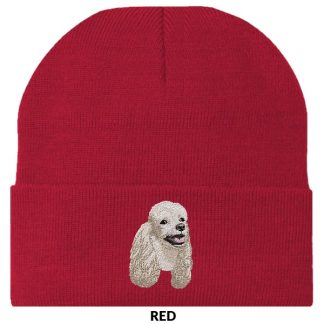 White Poodle Knit Cap - Embroidered