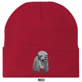 Silver Poodle Knit Cap - Embroidered