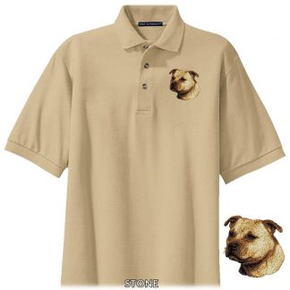 Staffordshire Bull Terrier Polo Shirt - Embroidered (Fawn)
