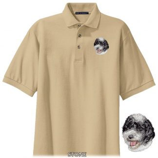 Portuguese Water Dog Polo Shirt - Embroidered (Black White)