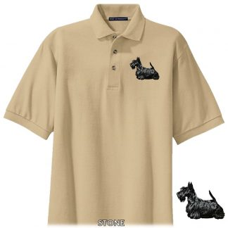 Scottish Terrier Polo Shirt - Embroidered (Black)