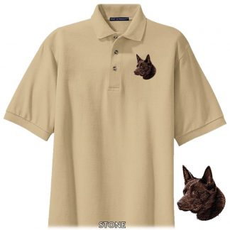 Australian Kelpie Polo Shirt - Embroidered (Chocolate)
