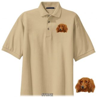 Longhaired Dachshund Polo Shirt - Embroidered (Red)
