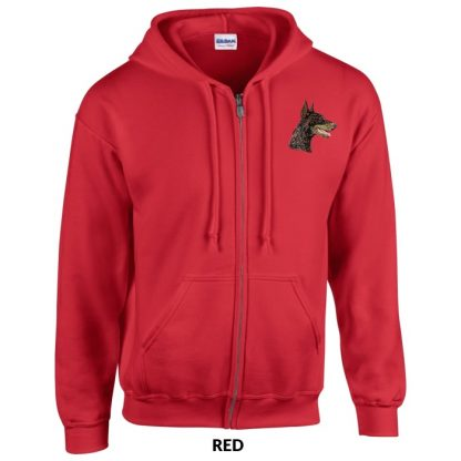 Doberman Pinscher Hoody Jacket - Embroidered (Red)